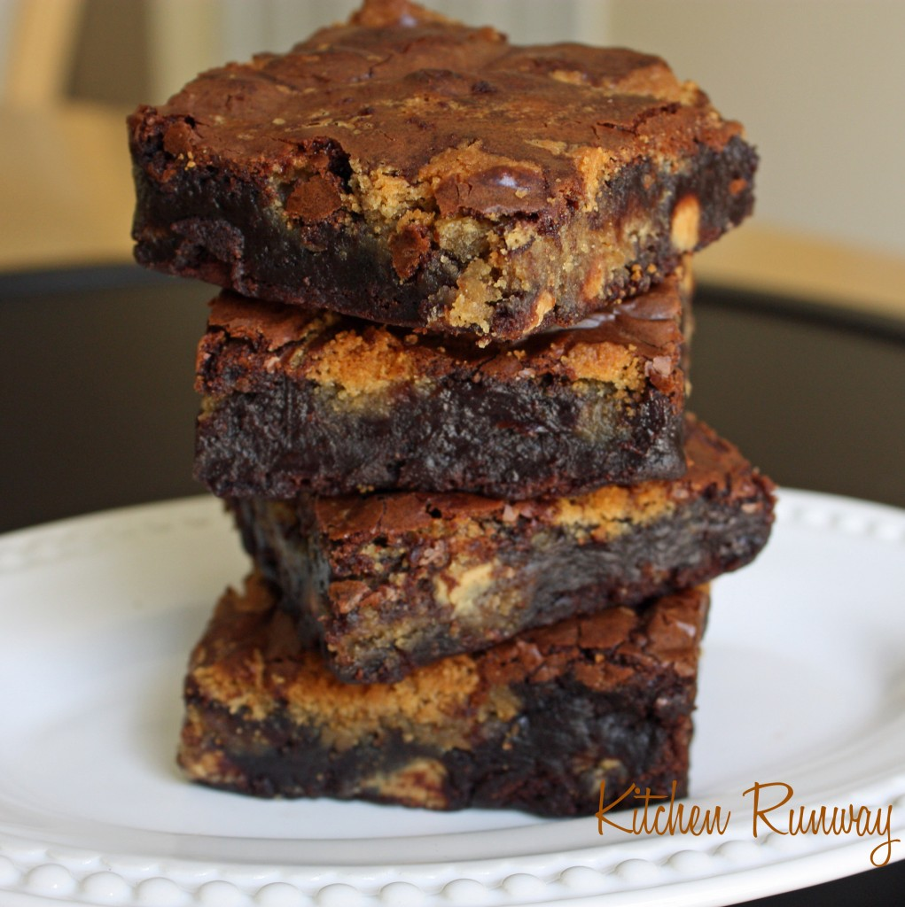 peanut butter brownies stack