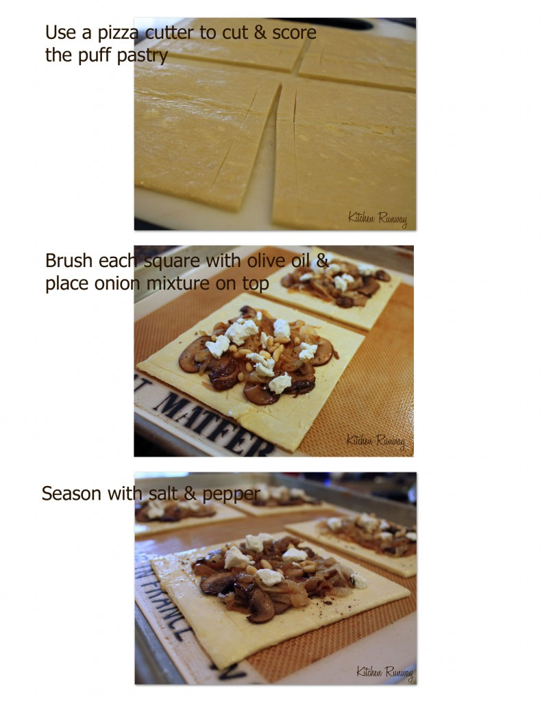 caramelized onion mushroom goat cheese tart step by step