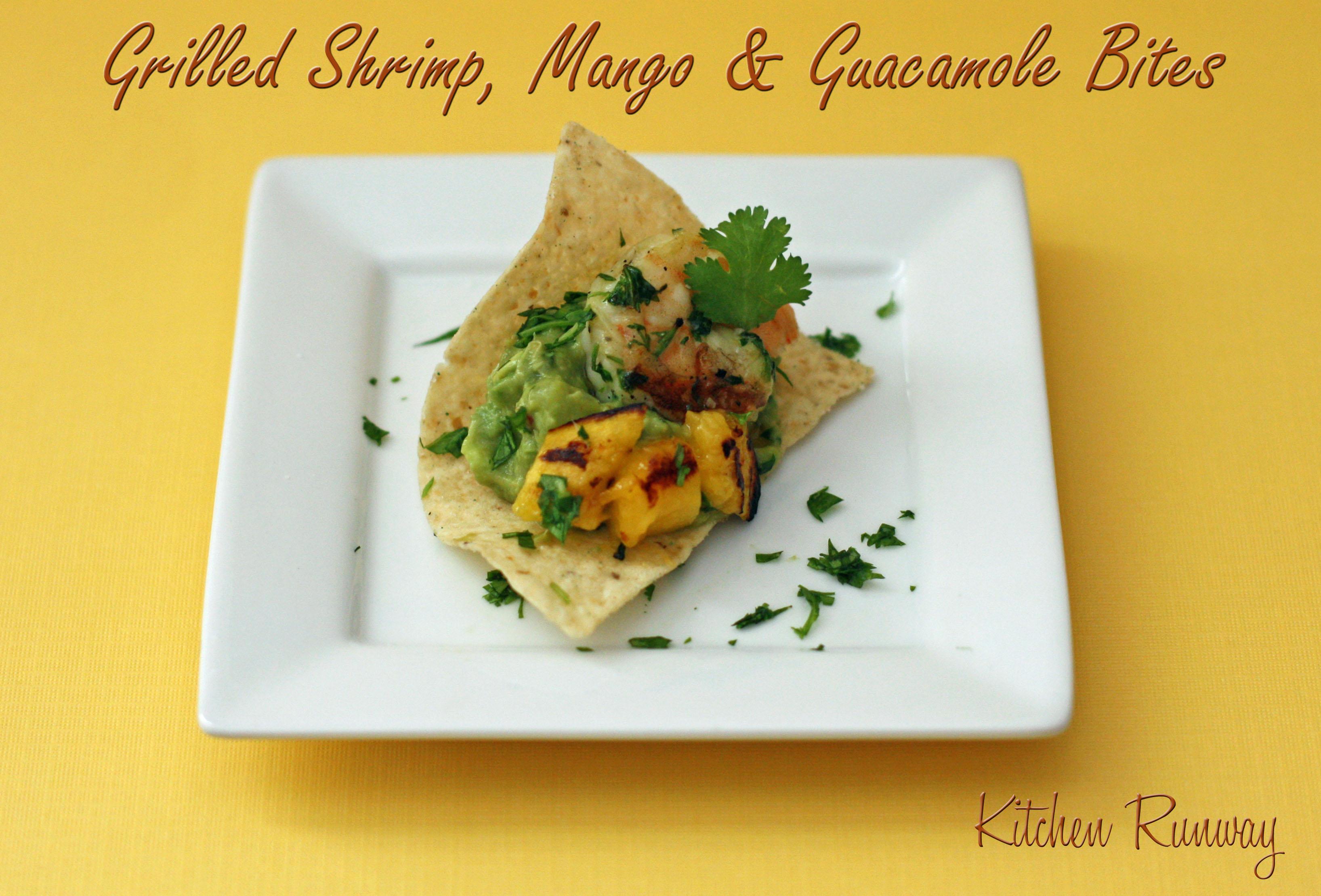 grilled shrimp, mango and guacamole bites