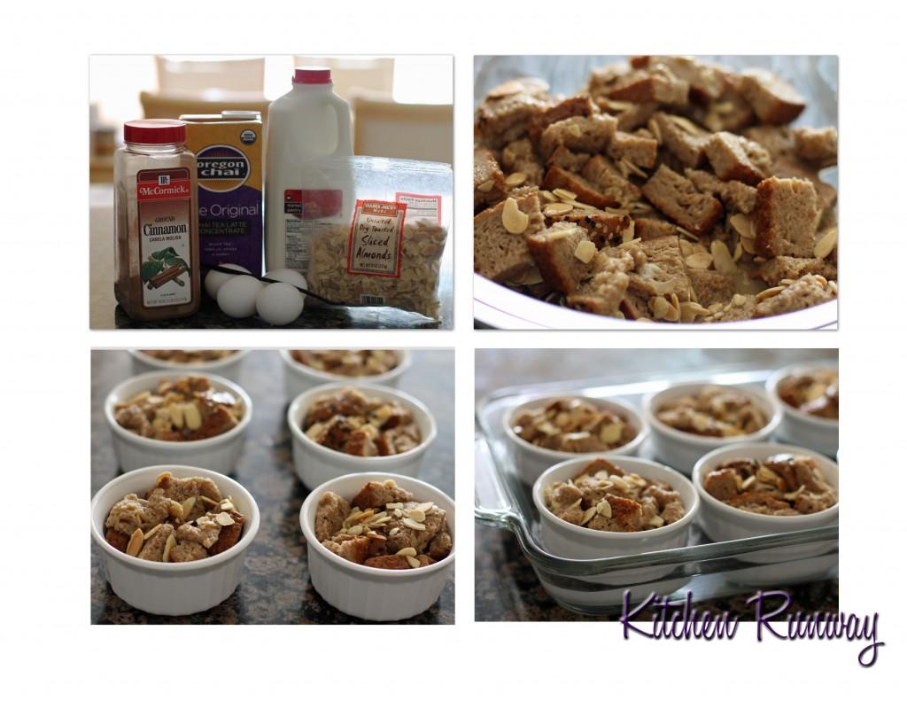 chai latte bread pudding collage