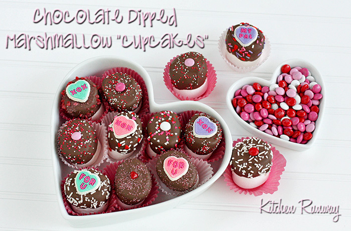 kitchen runway's chocolate dipped marshmallow cupcakes