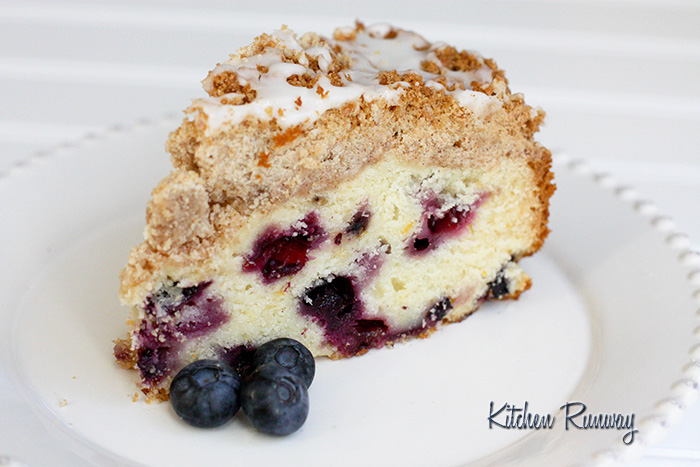 subtle lemon cake with fresh blueberries, crumb topping and lemon ...