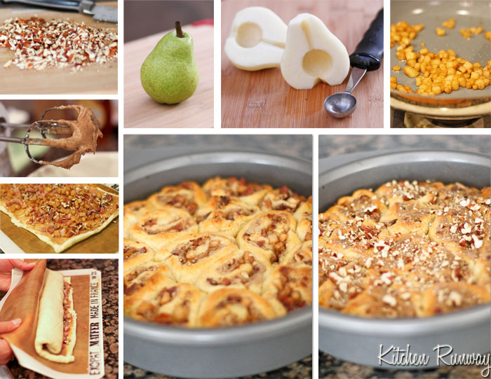 bacon pear cinnamon rolls step by step collage