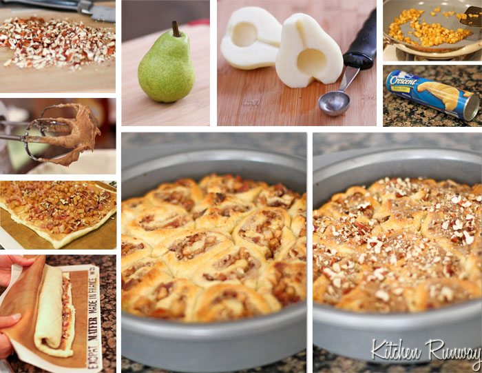 bacon pear cinnamon rolls step by step
