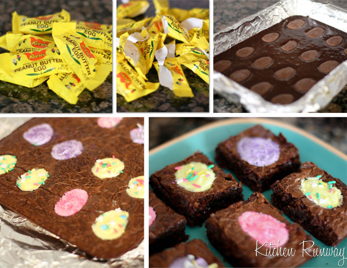 peanut butter egg brownie collage