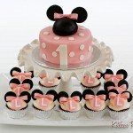minnie mouse cake and cupcakes for girl's 1st birthday