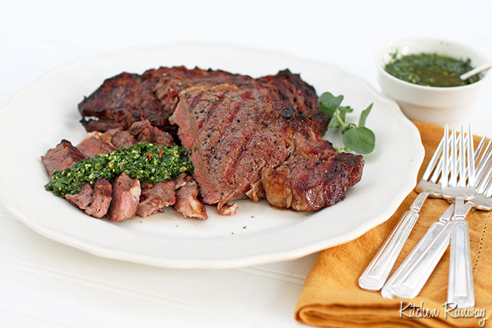 grilled rib eye with chimichurri sauce