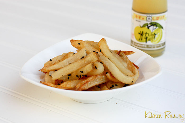 french fries with roasted black sesame, sea salt & yuzu