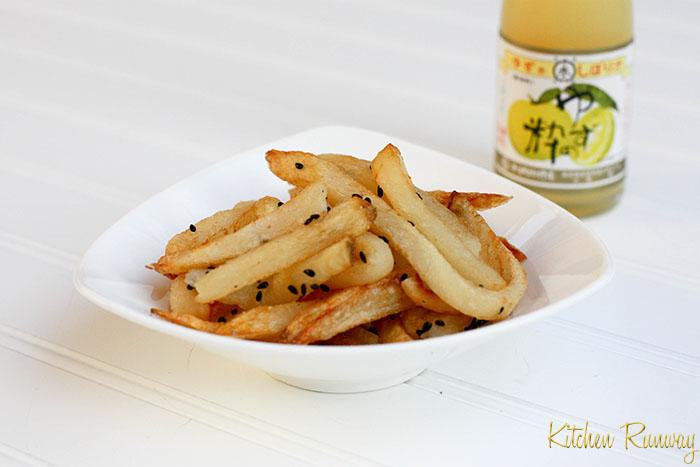 french fries with roasted black sesame, sea salt & yuzu