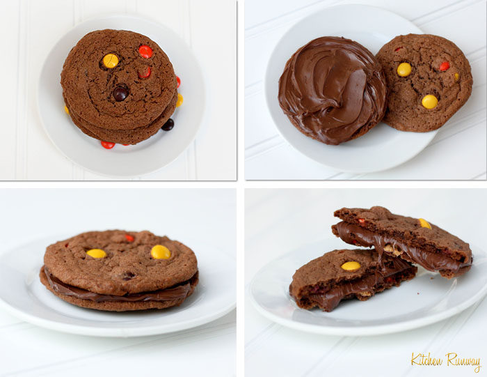 nutella & reese's pieces cookies collage